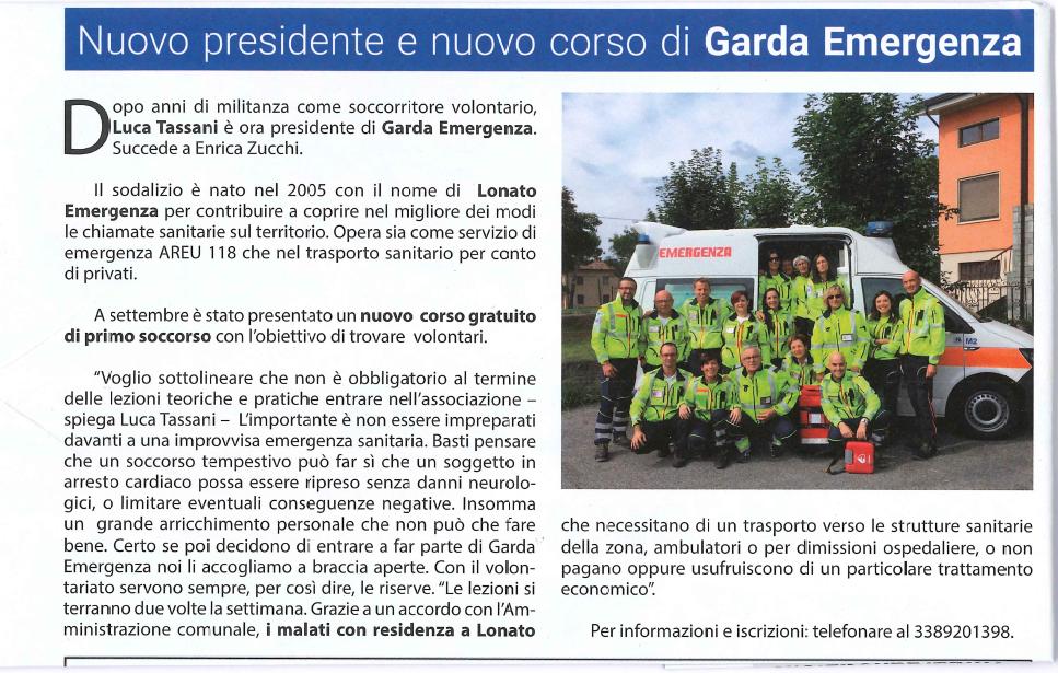 Nuovo presidente e nuovo corso di Garda Emergenza